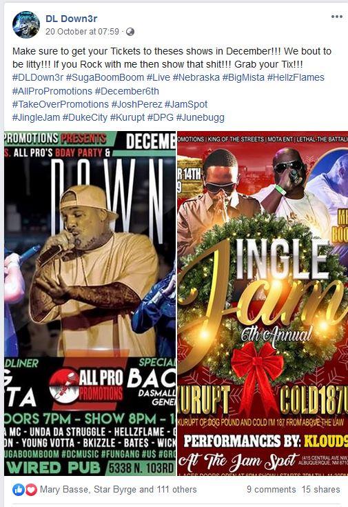 down3r facebook december tours
